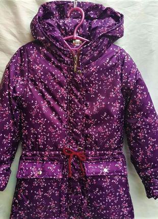 Ветровка куртка парка на девочку весна осень 6-12 лет Цветочки