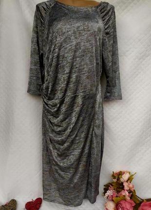 Шикарное меланжевое платье с драпировкой в стразах размер 18 (...