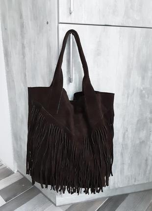 Замшевая сумка шоппер borse in pelle + ключница