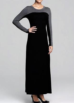 Платье макси с длинными рукавами , черно-серого цветов, размер m
