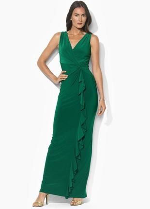 Платье вечернее*ralph lauren *на запах с драпировкой и каскадн...