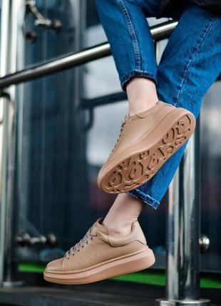 Alexander mcqueen matt beige кроссовки женские