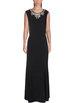 """Роскошное черное макси платье , с декором в области декольте """"..."""