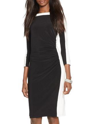 Ralph lauren черное платье-футляр с контрастным белым контуром...