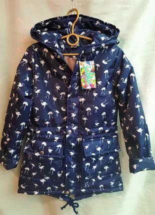 Ветровка куртка парка на девочку весна осень 6-12 лет фламинго