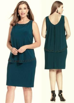 """Эффектное вечернее платье батал  с декором  в цвете """"зеленый к..."""