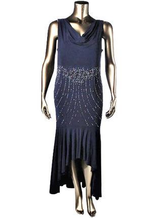 Нарядное синее платье с декором на бедрах, асимметричной длины...