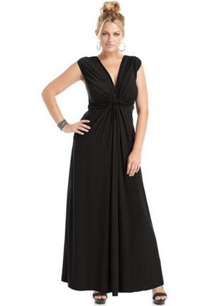 Вечернее платье макси с v-образным вырезом , немного завышенно...