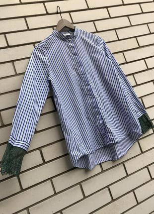 Рубашка в полосочку с кружевом rich & royal