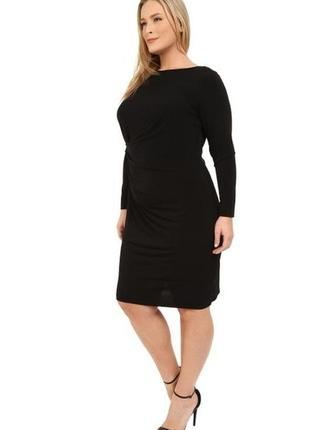 Элегантное платье с длинными рукавами и драпировкой сбоку 1x н...
