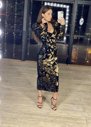 Платье велюр с пайетками черно-золотой