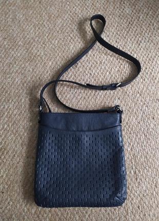 Кожаная женская сумка кроссбоди, синяя сумочка из кожи натурал...