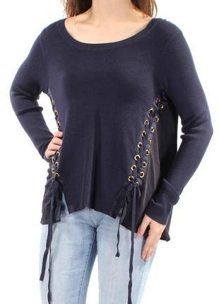 Шикарный свитер с декоративными диагональными шнуровками, выре...
