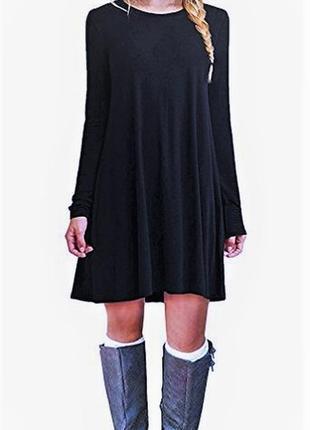 Платье туника оверсайз (легкая трапеция) с длинными рукавами l...