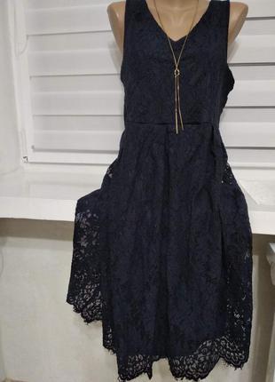Плаття кружево темно синє - розпродаж плать - дивись