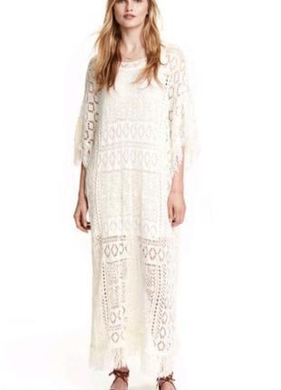 Вязанное платье миди h&m с бахромой