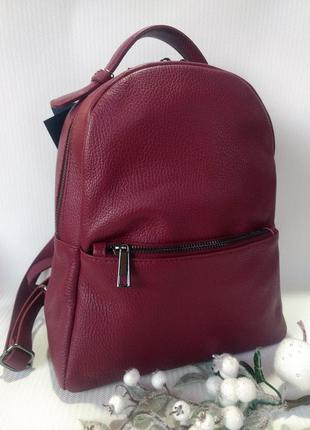 Лёгенький и практичный рюкзак из натуральной кожи бордовый