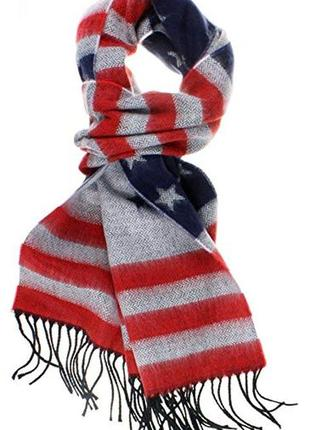 """Шарф  в принт """"американский флаг"""" по низу"""