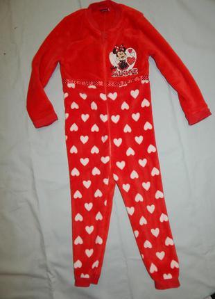Пижама слип человечек плюшевый на девочку minnie 5-6лет 110-116см