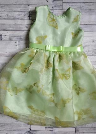 Нарядное платье с бабочками на девочку салатовое