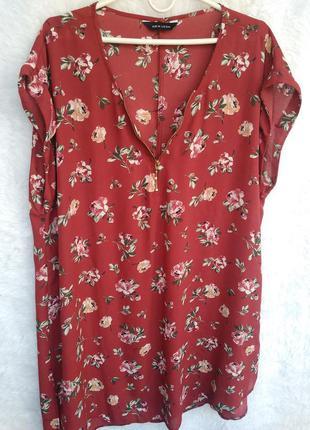 Элегантное шифоновое платье рубашка туника цветочный принт