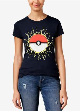 Футболка *pokemon* сша с цветной графикой по переду и коротким...