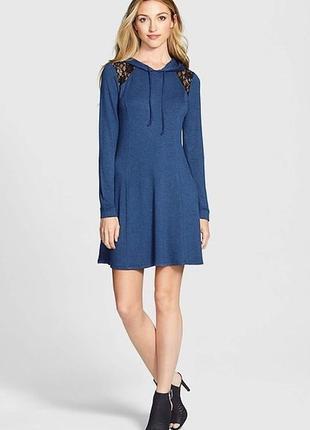Платье -худи с длинными рукавами из вискозного трикотажа цвет ...