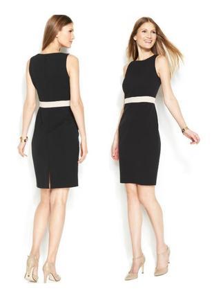 Маленькое черное платье с контрастной вставкой по линии талии,...