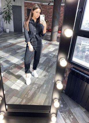 Комбинезон джинсовый черный