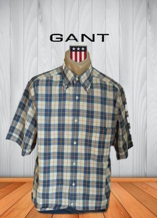 🌿🌿gant хлопковая мужская рубашка с коротким рукавом в клетку м🌿🌿🌿