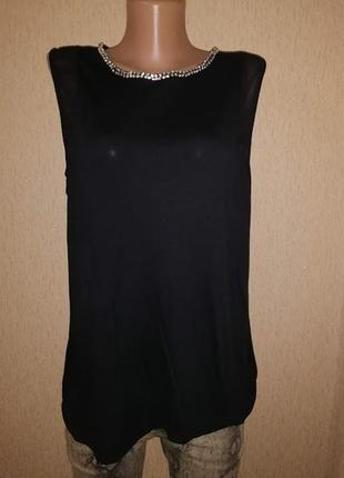 🔥🔥🔥стильная черная женская трикотажная майка, блузка 16 р. dor...