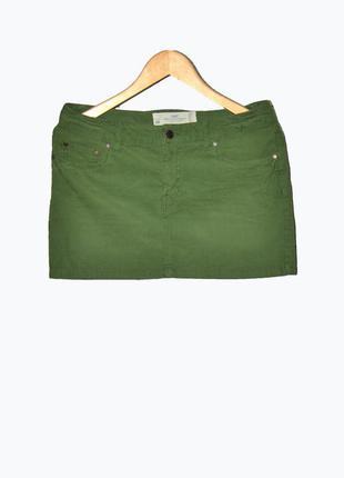Стильная вельветовая зеленая юбка
