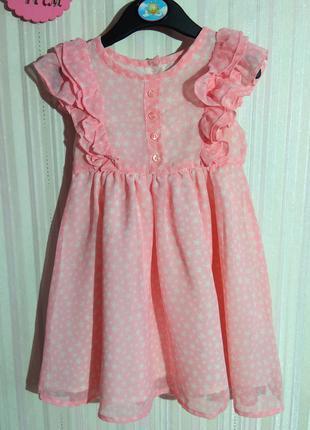 Светло-розовое платье Mothercare в звездочку р. 9-12 мес