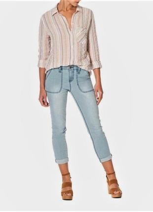 Рубашка бойфренд с одним карманом в полоску из хб ткани размер xl