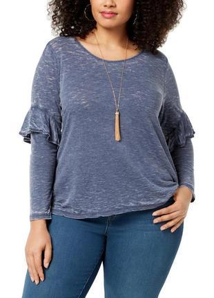 Свитшот серо-синего (джинсового) цвета с акцентными рукавами p...