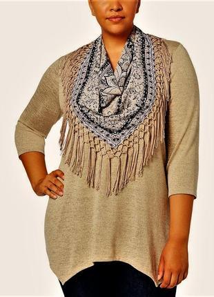 Комплект : свитшот +съемный шелковый шейный платок в принт с б...