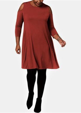 Платье-футболка приглушенный коралл с вырезами по рукавам, бат...