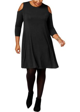 Черное платье прямого кроя с вырезами по рукавам, батал 2х ( 5...