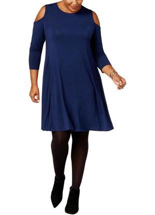 """Платье синего цвета  """"легкая трапеция"""" с вырезами по рукавам, ..."""