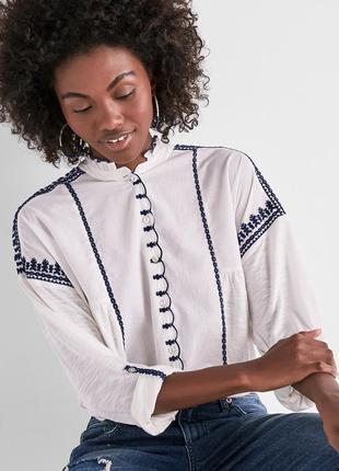 """Рубашка блуза """"бохо""""с контрастной вышивкой темно-синего цвета,..."""