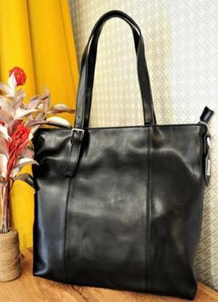 Женская кожаная большая сумка жіноча шкіряна шопер кожаный