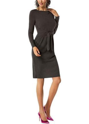 """Платье с втачным пояском , длинными рукавами и вырезом """"лодочк..."""