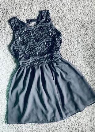 Платье шифоновое с пайетками без рукавов