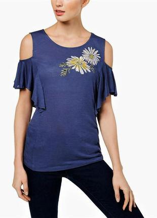 Футболка блуза из трикотажа с открытыми плечами и декором xxl ...