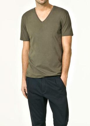 Оригинальная футболка  свежие коллекции zara ®men's v-neck cot...