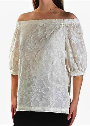 Роскошная блуза шелк+хлопок из объемной кружевной ткани с откр...