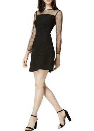 Маленькое черное платье с прозрачной кокеткой и рукавами в гор...