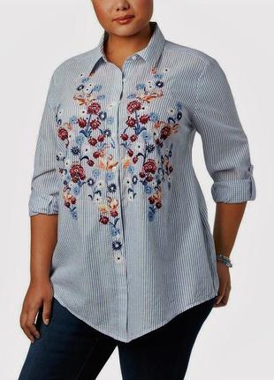 Рубашка с вышивкой по переду и длинными рукавами  в полоску ба...