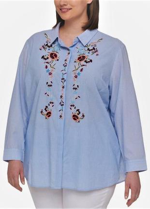 Рубашка с нежной вышивкой впереди *tommy hilfiger*в мелку поло...