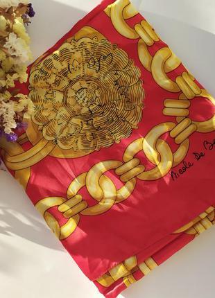 Лёгкий шарф платок париж стильный красный алый принт узор цепи...